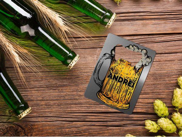 Desfăcător bere personalizat cu nume