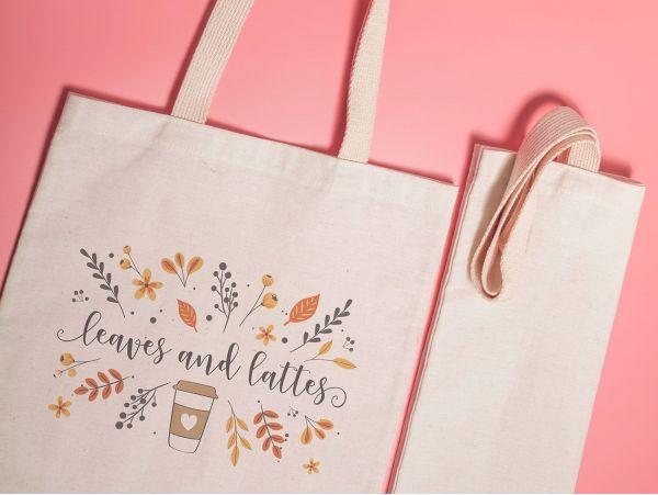 "Sacosa personalizata ""Leaves and lattes"""
