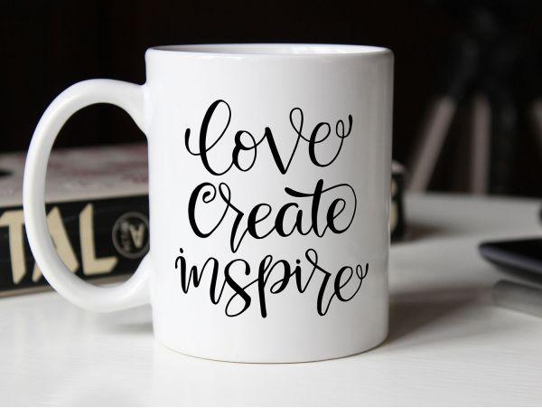 """Cana personalizata """"love create inspire"""""""