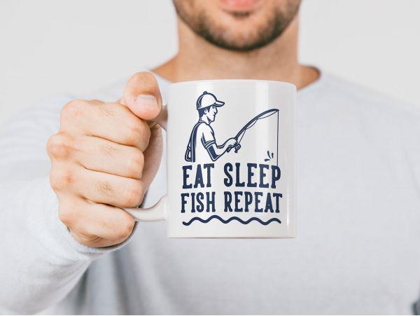 "Cana pescar personalizata ""eat sleep..."